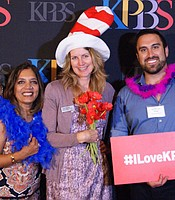 KPBS Associate General Manager Trina Hester and KPBS staff Niru Ramachandran with Producers Club members.