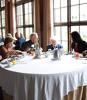 Producers Club members and KPBS staff enjoying a breakfast and refreshments at The Lodge at Torrey Pines.