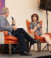 Antiques Roadshow Producer Marsha Bemko discussing Antiques Roadshow with KPBS General Manager Tom Karlo.