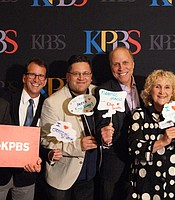 KPBS General Manager Tom Karlo with Director of Programming John Decker; host and director of Crossing South, Jorge Meraz; creator, producer and host of Ken Kramer's About San Diego, co-producer, co-writer and host of A Growing Passion, Nan Sterman; and creator, host and producer of My First Day, Andrew Bracken.