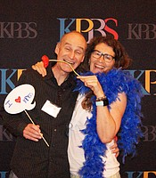 KPBS Producers Club members having fun with the KPBS backdrop and props