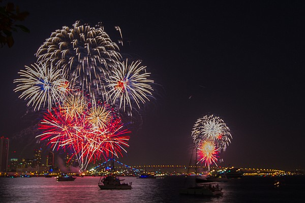 A photo shows 4th of July fireworks in downtown San Diego...