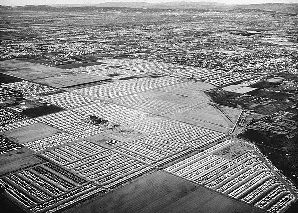 An aerial view of Lakewood, Calif. from the mid-1950s is ...