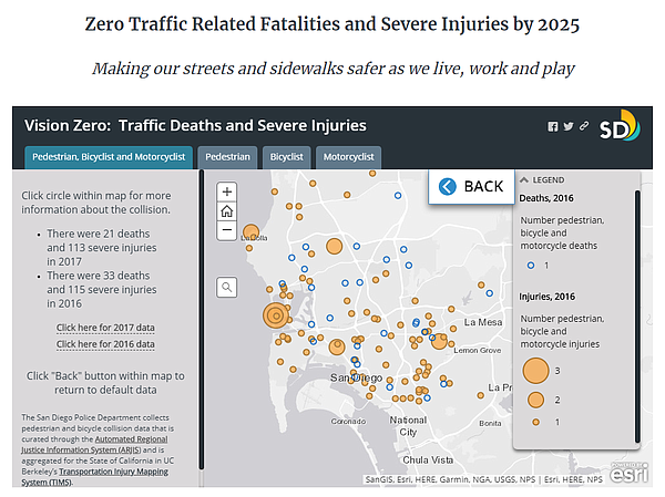 A screen shot of the city's revamped Vision Zero webpage ...