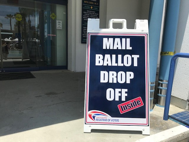 A mail ballot drop off location is shown, May 31, 2018.