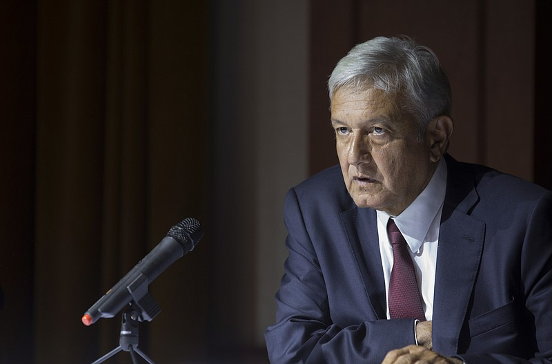 Mexico's President-elect Andres Manuel Lopez Obrador gives a press conference...