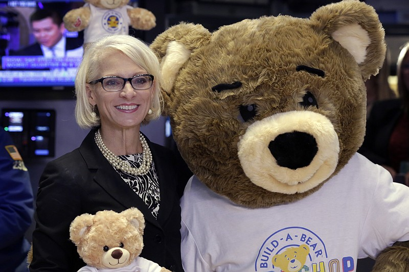 Build-A-Bear Workshop CEO Sharon Price John, poses for photos on the floor of...