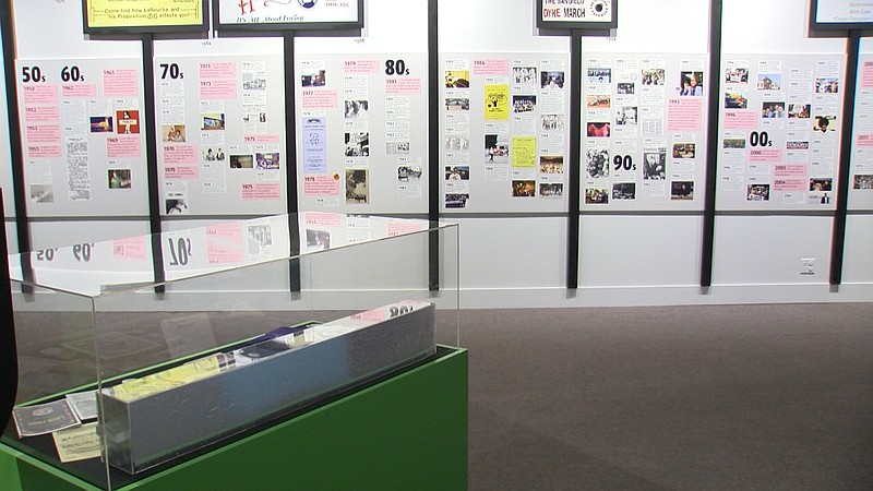 A timeline from the LGBTQ+ San Diego: Stories Of Struggle and Triumphs exhibi...