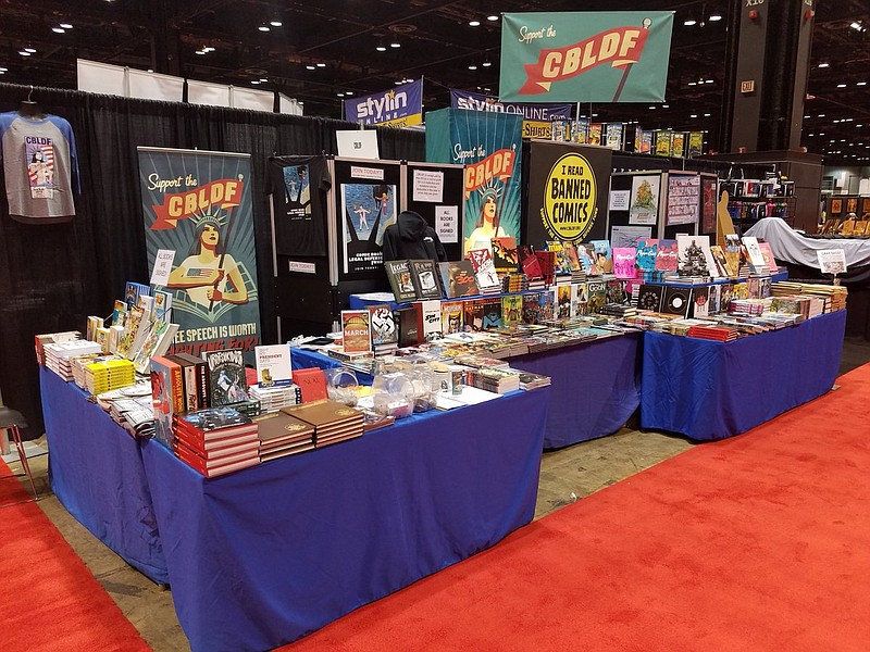 The Comic Book Legal Defense Fund's booth at the 2017 Comic Con is pictured i...