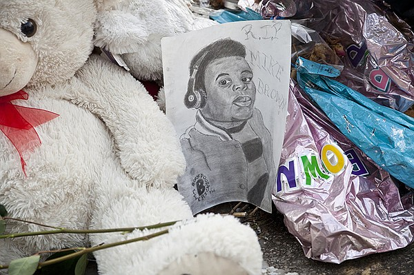 A memorial for Michael Brown Jr. in Ferguson, Mo.