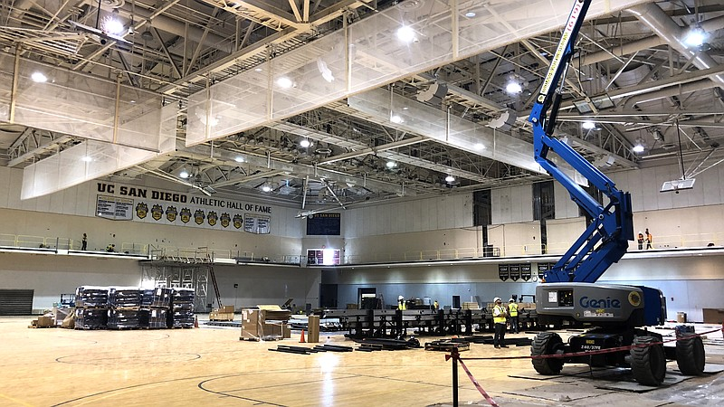 A look inside UC San Diego's RIMAC Arena during renovations, July 26, 2018.