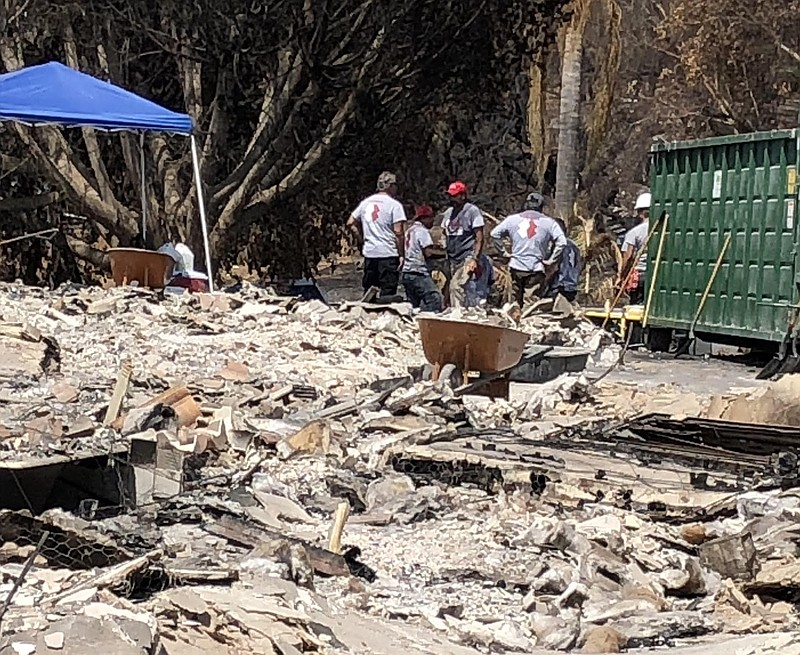 Team Rubicon veterans cleanup after Alpine Fire, July 27, 2018.