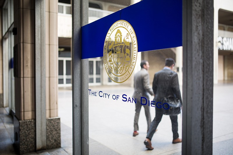 San Diego's seal is shown at the downtown City Administration Building, May 8...