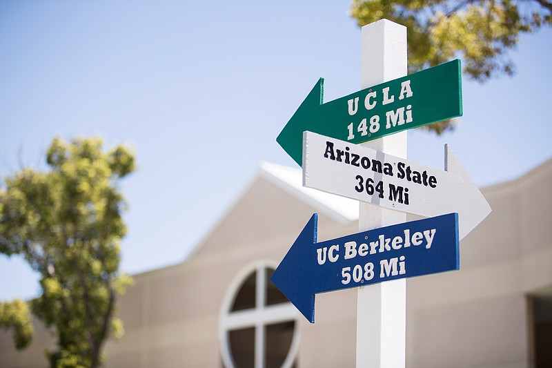 On the Eastlake High School campus in Chula Vista, arrows show the distance t...
