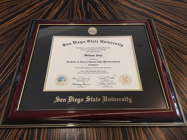 Bill Vogt's San Diego State University diploma is shown, ...