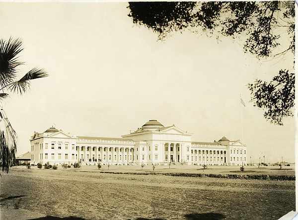 Full view of the exterior of the Main Building and ground...