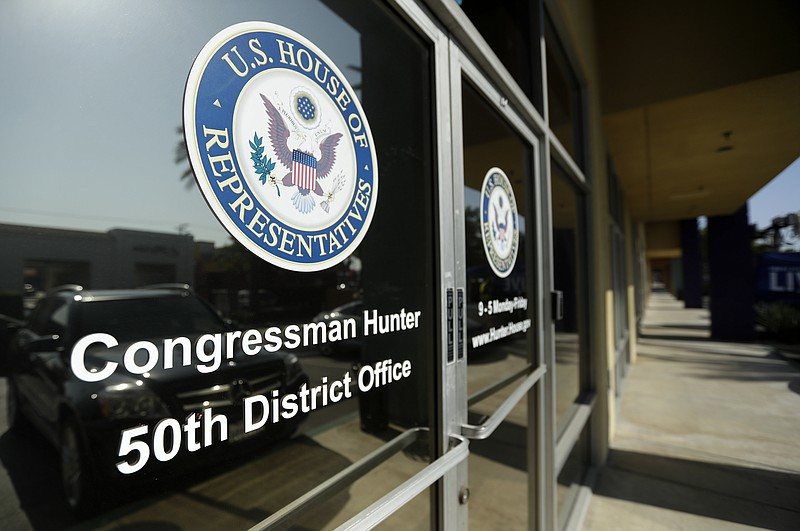 The closed offices of U.S. Rep. Duncan Hunter are seen, in El Cajon, Calif.Tu...