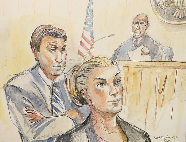 A sketch of Rep. Duncan Hunter, R-Alpine, and his wife Ma...