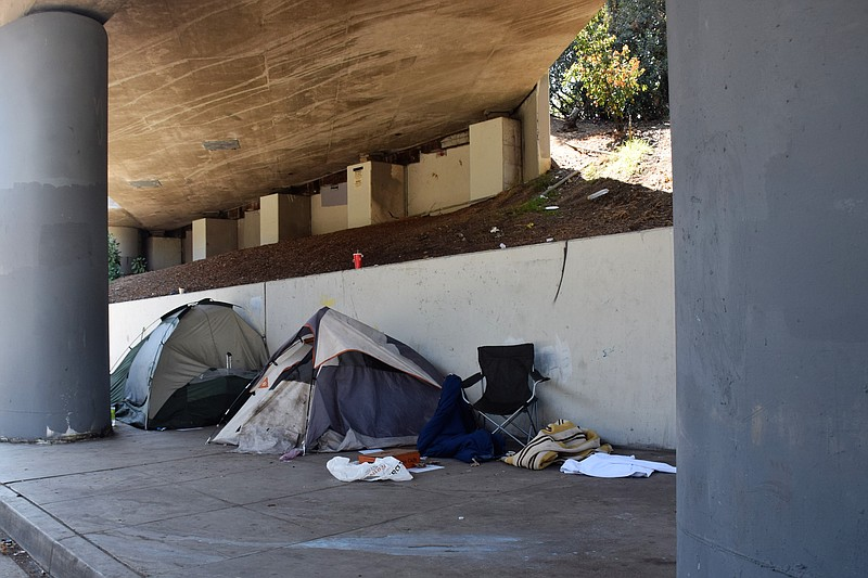 Tents on a Los Angeles sidewalk are shown in this photo, Aug. 22, 2018. By so...