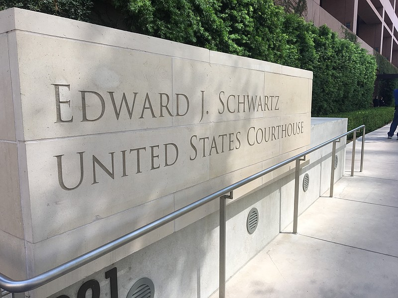 The sign outside of the Edward J. Schwartz U.S. Courthouse in downtown San Di...