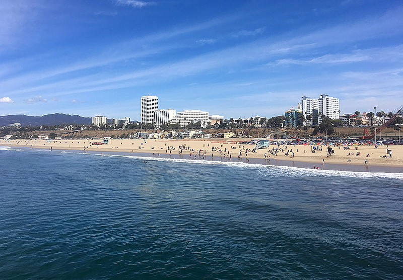 In this photo taken March 18, 2018, the ocean and beach are viewed from the p...