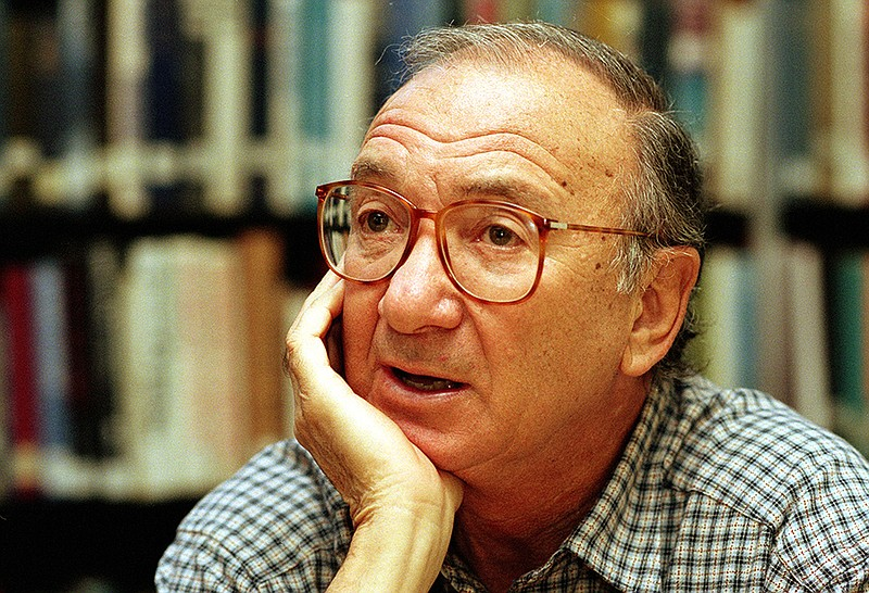 American playwright Neil Simon answers questions during an interview in Seatt...