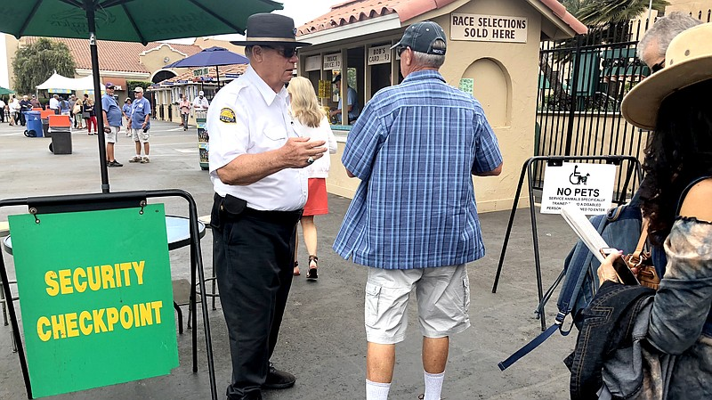 A security checkpoint at the Del Mar Fairgrounds near the