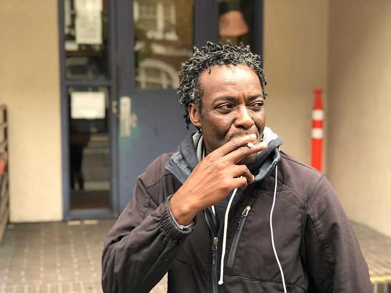 Sean Kayode is shown outside the Next Door homeless shelter in San Francisco ...