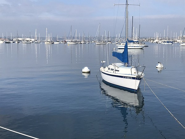 Boats rest in San Diego Bay near the Grape Street Pier on...