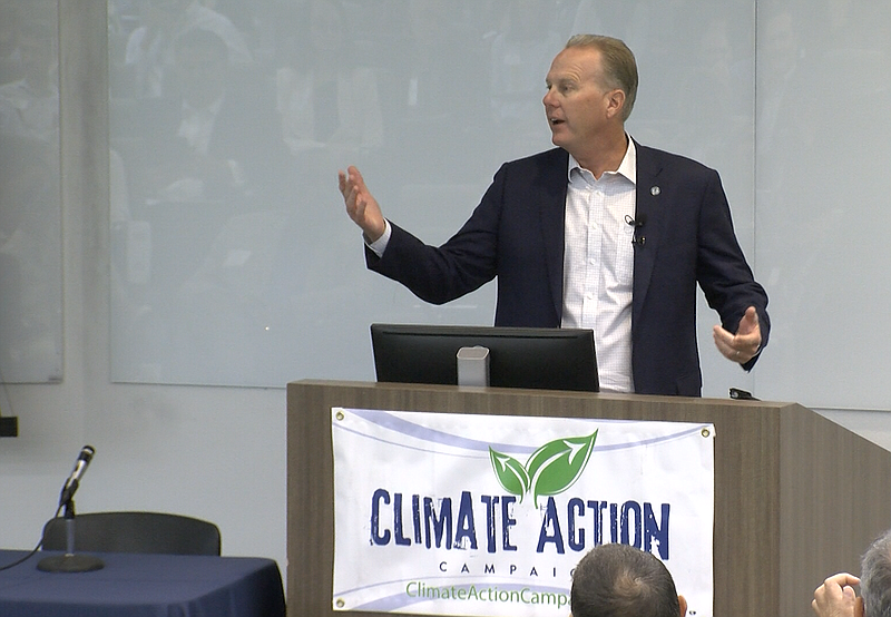 San Diego Mayor Kevin Faulconer speaks at a forum on community choice energy,...