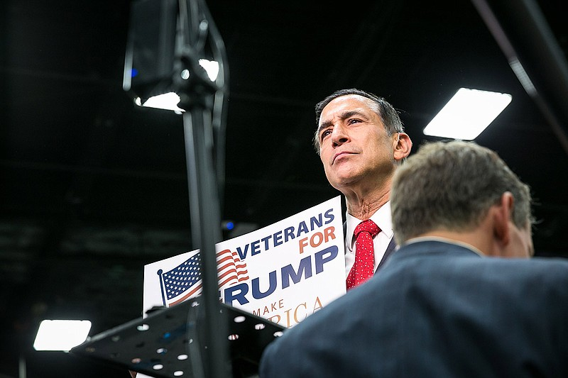 Rep. Darrell Issa, R-Vista, attends a Donald Trump rally at the San Diego Con...