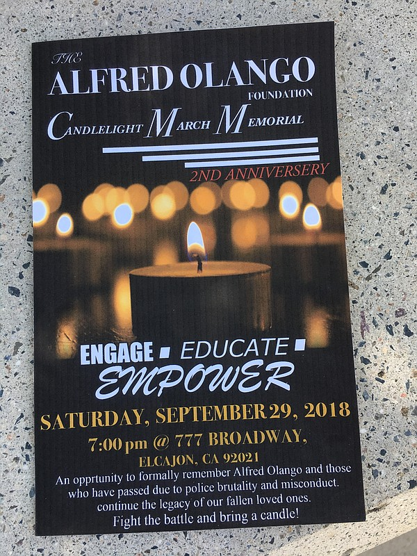 A flyer for the Alfred Olango candlelight memorial, Sept....
