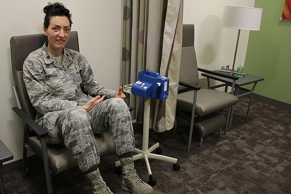 Maj. Crystal Karahan, an Air Force medical officer, demon...