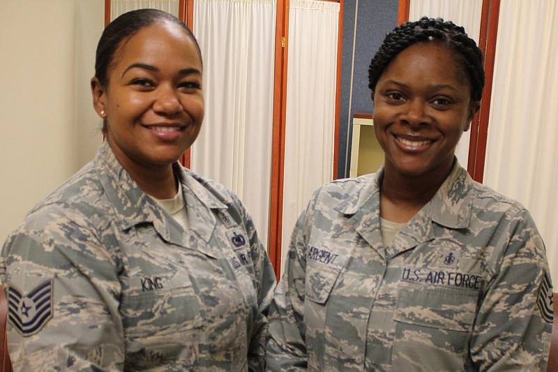 Air Force Tech Sergeants Jesseka King (left) and Ronneisha Sargent, who each ...