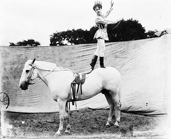 Equestrian standing on back of horse, circa 1903.