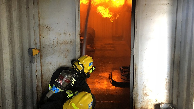 Port of San Diego Harbor Police trainees practice putting out fires in what a...
