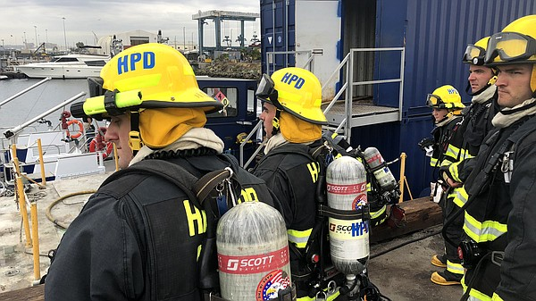 Port of San Diego Harbor Police trainees get ready to com...