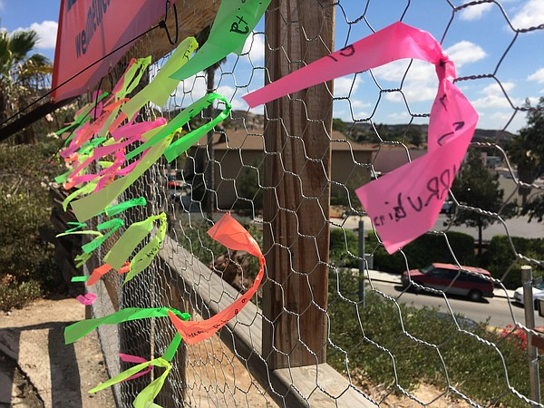 Ribbons with names of those affected by current immigrati...
