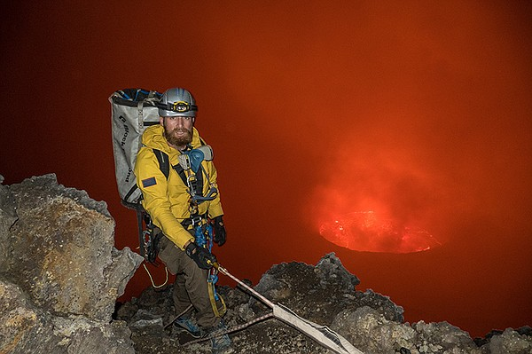 Aldo Kane on one of many descents into the crater.