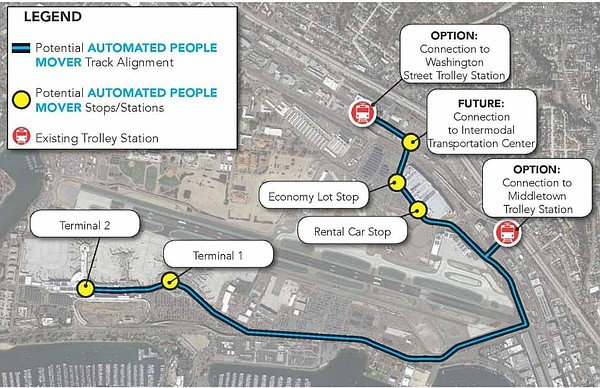 Proposed route of an automated people mover to connect th...