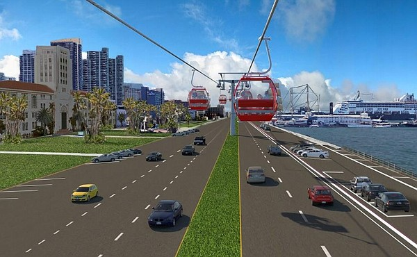 An artist's rendering shows a skyway gondola, proposed by...