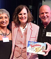 KPBS staff and Producers Club member Niru Ramachandran and Producers Club member Richard Thill with Paula Poundstone.