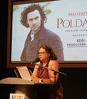 KPBS' Director of Community Development & Engagement, Monica Medina, presenting the premiere of Poldark: Season 4.