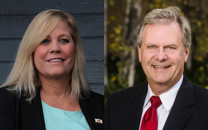 San Diego County District 5 candidates Michelle Gomez and Jim Desmond are sho...
