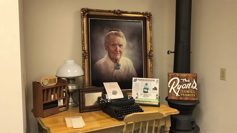 A display of artifacts related to Lewis and Frances Ryan at the Escondido Lib...