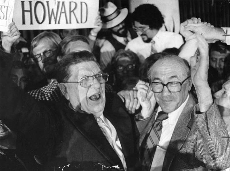 Howard Jarvis and Paul Gann celebrate after Proposition 13 wins on June 6, 1978.