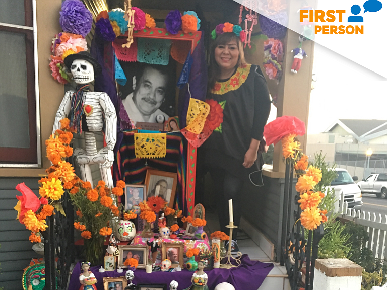 Pita Verdin, standing next to her Dia de los Muertos altar at her home in She...
