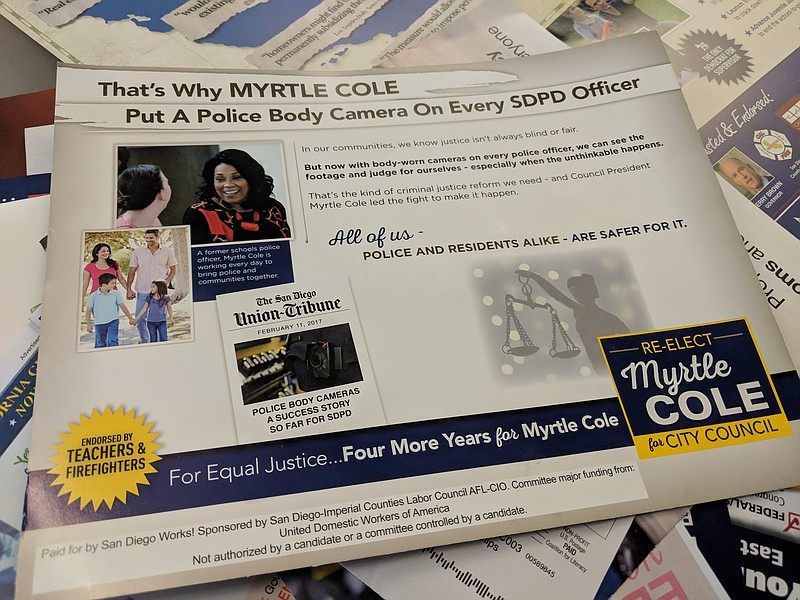 A campaign mailer sent out by San Diego Works!, a political action committee ...