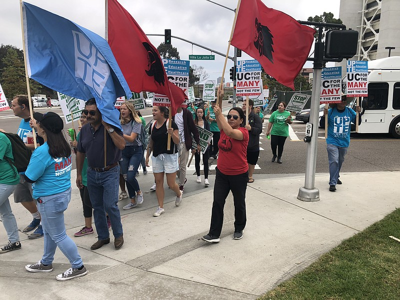 Patient care technical workers at UC San Diego on strike, Tuesday, October 23...