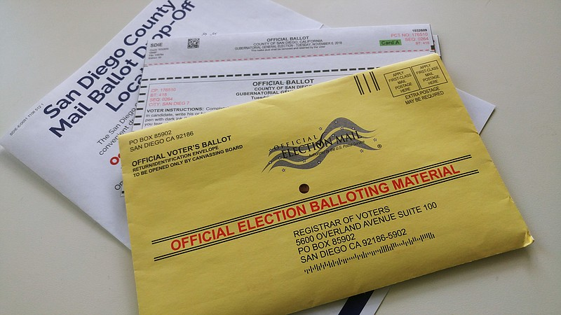 A California mail-in ballot is shown, Oct. 25, 2018.